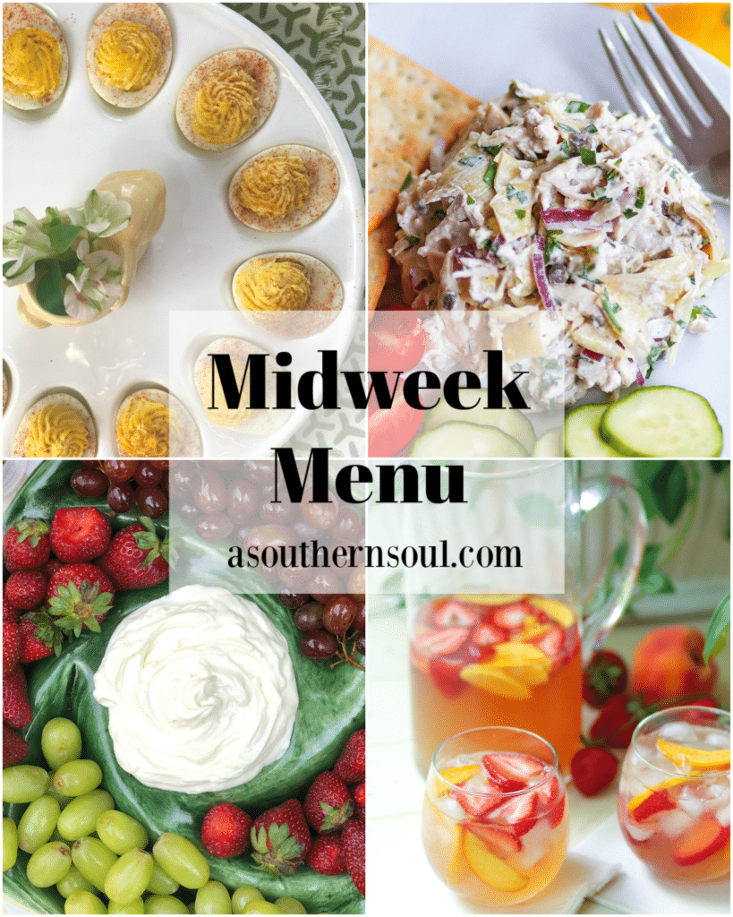 Midweek Menu #98 features a 3 ingredient fruit dip with fresh strawberries and grapes, artichoke chicken salad, creamy deviled eggs and cool peach sangria.