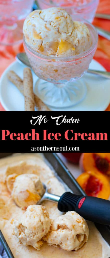 No Churn Peach Ice Cream made with fresh chopped peaches, whipped heavy cream, condensed milk, vanilla and a pinch of salt is delicious! It's sweet, creamy and no ice cream maker is required.