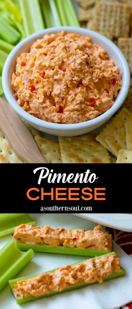 Classic Southern Pimento Cheese that's so easy to make. Shredded sharp cheddar cheese, chopped pimentos, cream cheese, mayonnaise, salt and pepper whipped together make a delcious spread for crackers, celery and sandwiches.