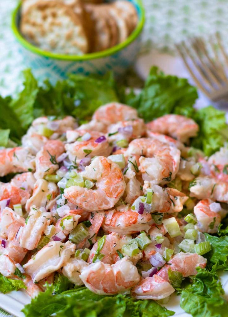 Shrimp Salad made with cooked shrimp, celery, red onion with fresh dill and parsley tossed in a lemony mayonnaise dressing is so easy to make. This cool and refreshing salad is pefect as an appetizer, lunch or even a main dish at supper.