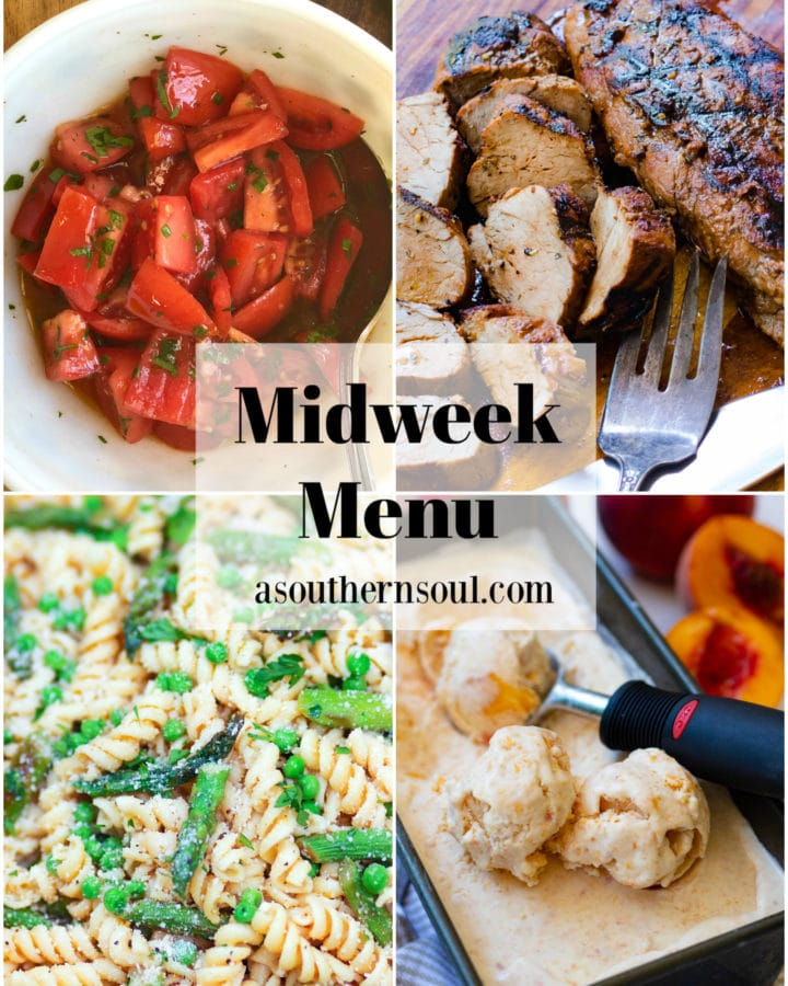Midweek Menu #102 features Grilled Marinated Pork Tenderloin, Fresh Tomatoes in a light dressing, Asparagus and Pea Pasta Salad and No Churn Peach Ice Cream. All easy to make from fresh ingregedients.