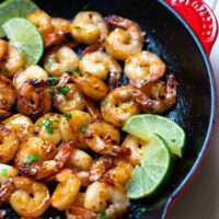 Garlic Honey Lime Shrimp are easy to make in just 15 minutes! Made with peeled, deveined shrimp, olive oil, red pepper flakes, salt, pepper, honey, and fresh lime juice. Perfect for an appetizer or a main dish.