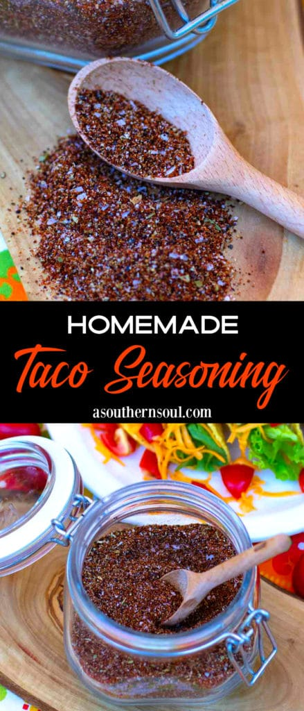 Homemade Taco Seasoning made with chili powder, oregano, smoked paparika, onion and garlic powder, salt and pepper. Easy to make for tacos, nachos, burritos and quesadillas.