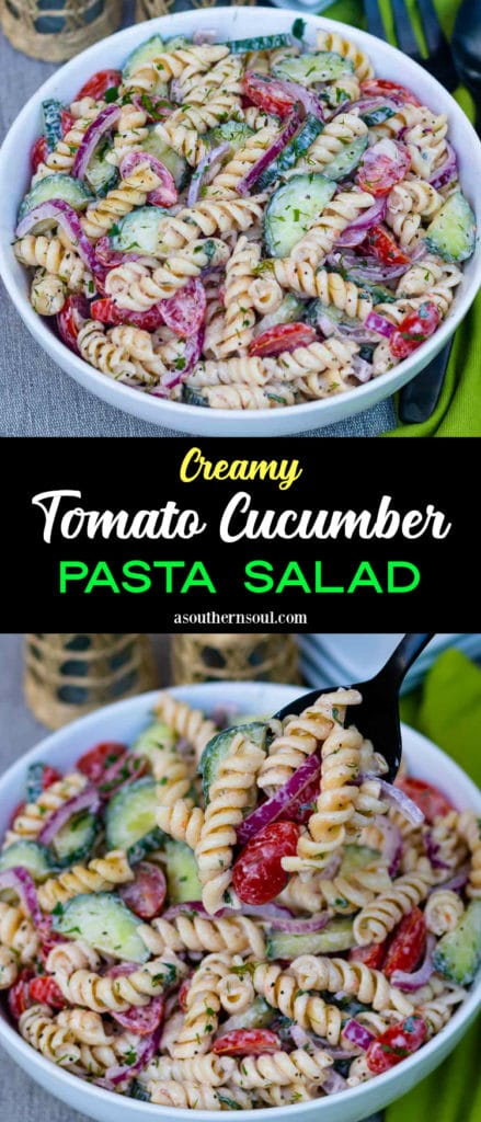 Creamy Tomato Cucumber Pasta Salad is fresh, cool and super easy to make. Made with fresh sliced tomatoes, cucumbers and onions, tossed in a dressing made with sour cream, mayonnaise, vinegar, suger, salt and pepper then sprinkled with dill, basil and parsley.