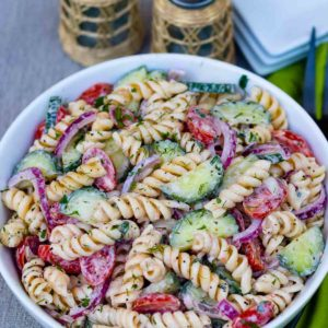 Creamy pasta salad for lunch or supper.