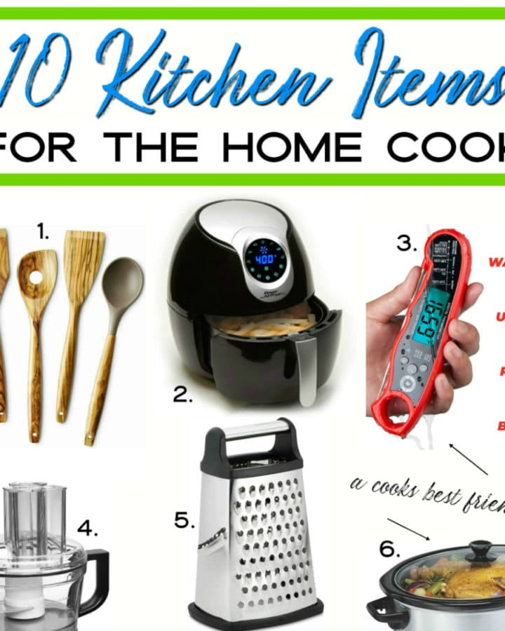 10 kitchen items collage for the home cook.