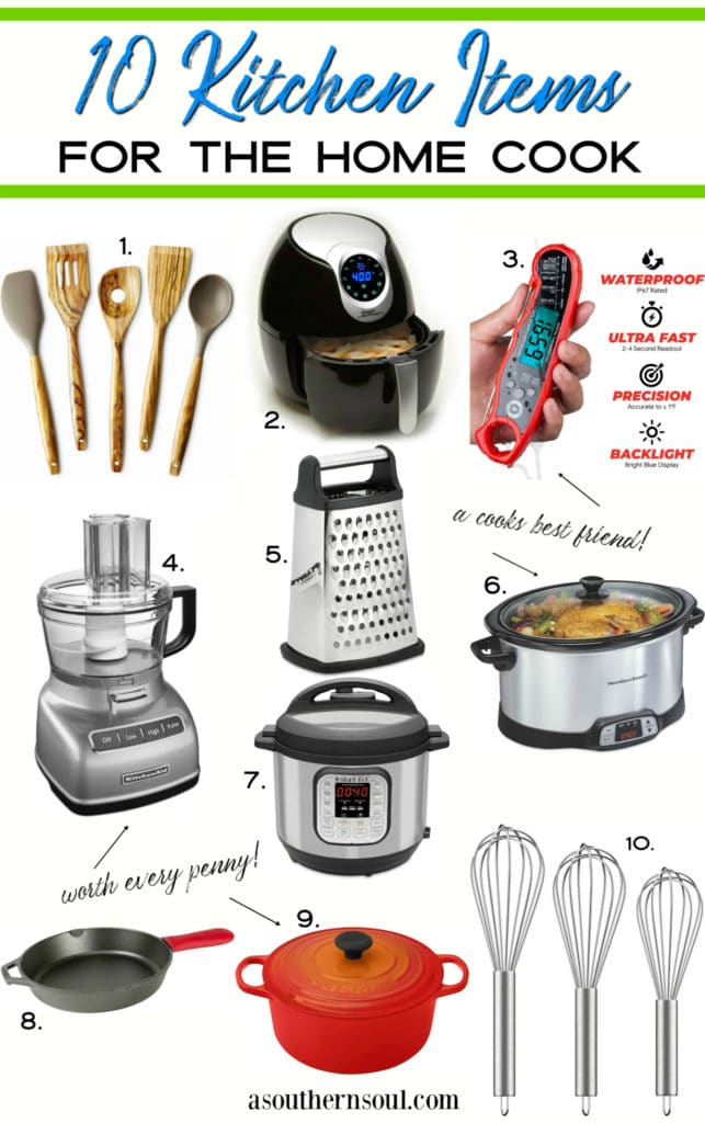 10 kitchen items for the home cook graphic.