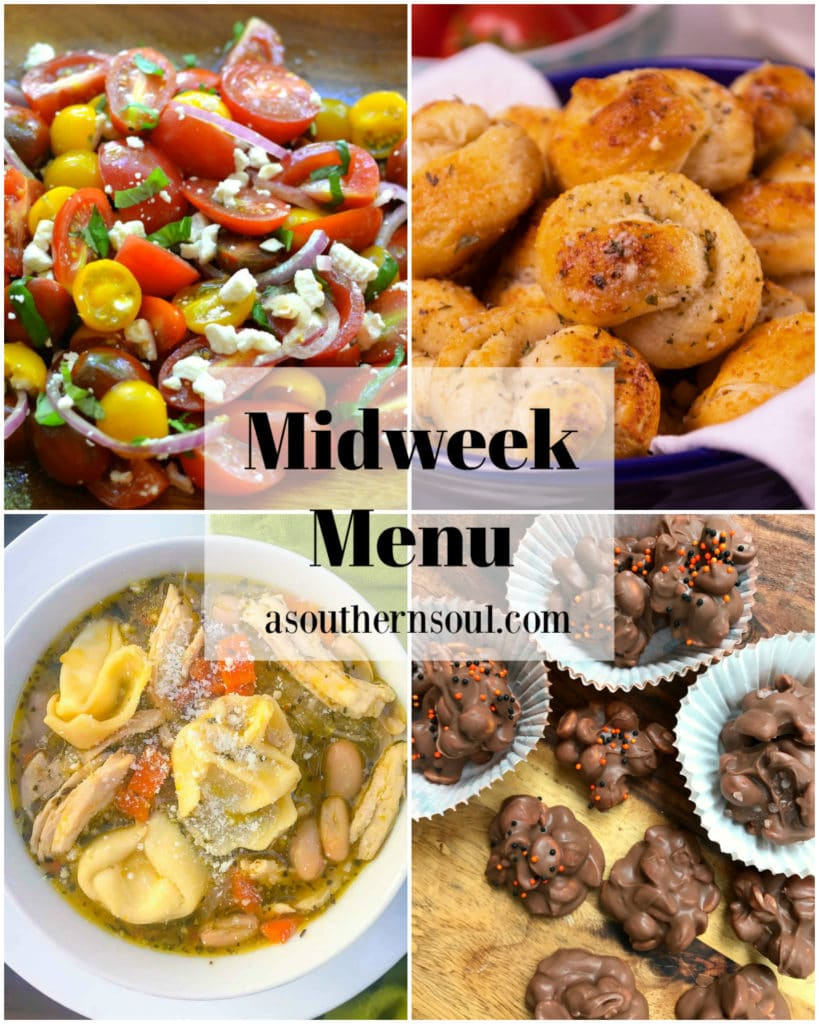 Midweek Menu collage of 4 photos for family dinners.