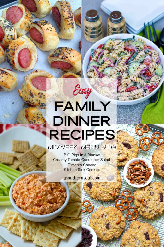 Four easy to make recipes for Family Dinner at Midweek Menu #109.