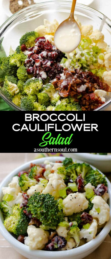 Broccoli Cauliflower Salad 2 images for Pinterest Pin.
