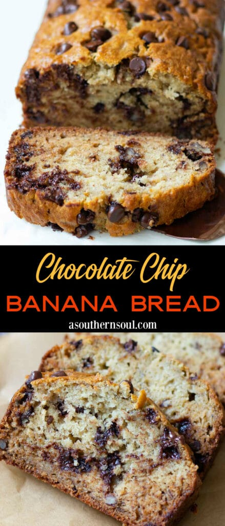 Chocolate Chip Banana Bread 2 images with text banner for Pintertest pin.