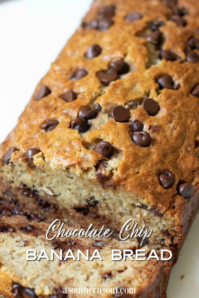 Chocolate Chip Banana Bread text overlay for Pinterst pin.