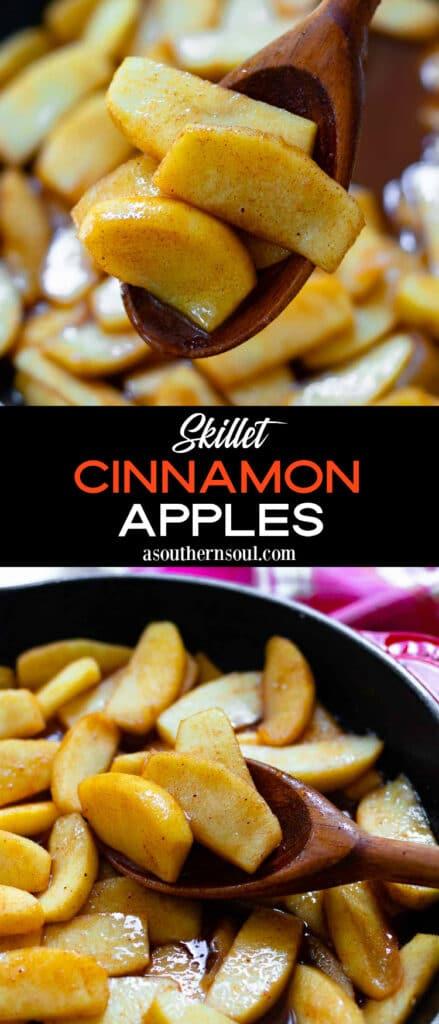Skillet Cinnamon Apples 2 images for Pinterest post.