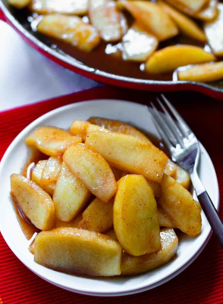 Warm cinnamon apples made in the cast iron skillet is simple and easy to make.
