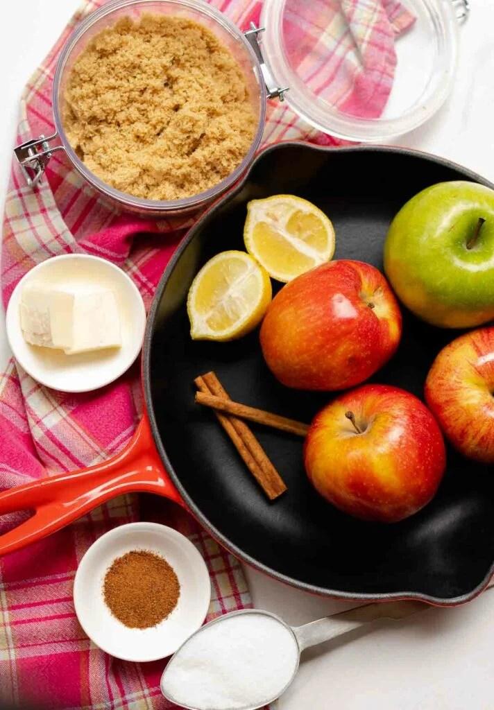 Simple ingredients of apples, brown sugar, cinnamon and butter make Skillet Cinnamon Apples irresistible.