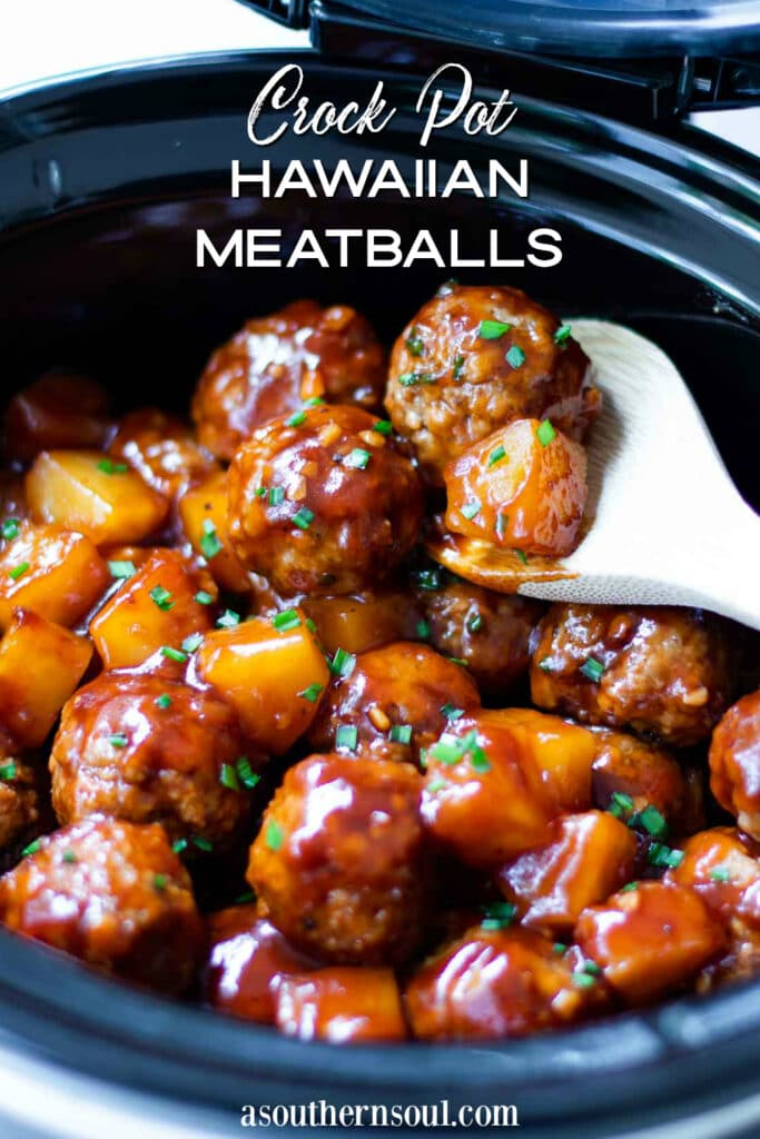 Crock Pot Hawaiian Meatballs on spoon with pineapple text overlay for post.