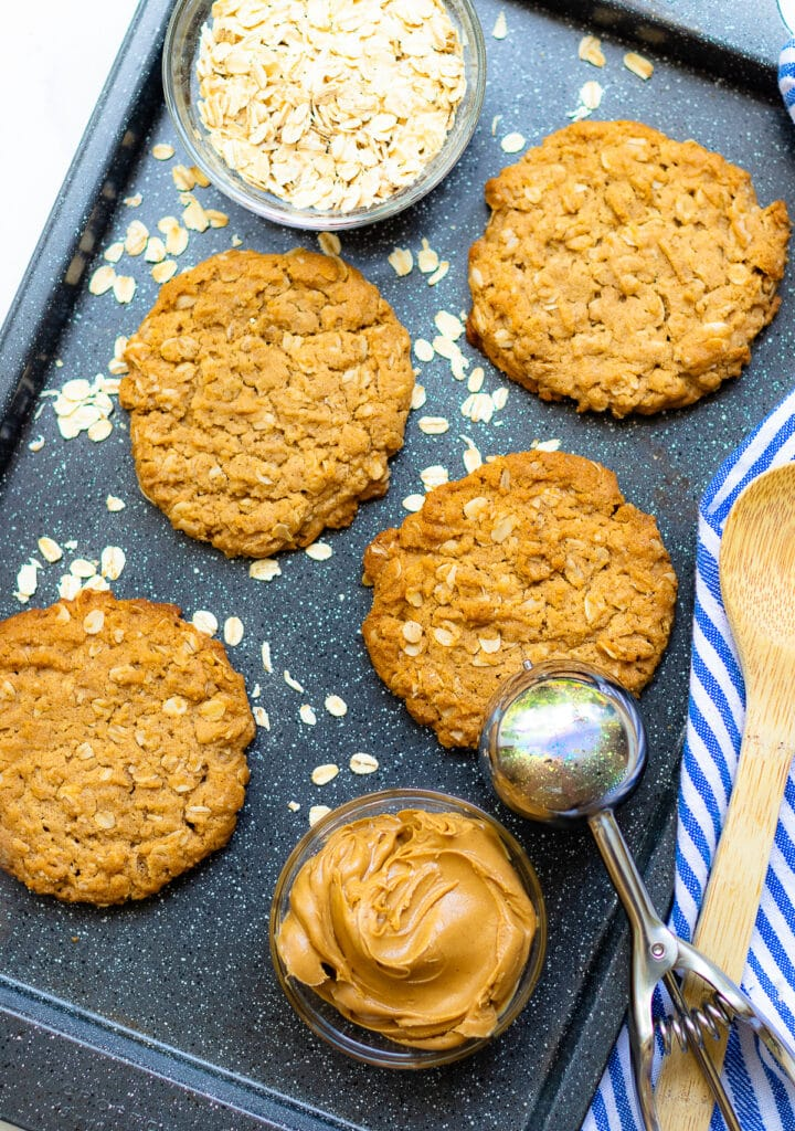 Peanut Butter Oatmeal Cookies on a pan are baked to perfection!