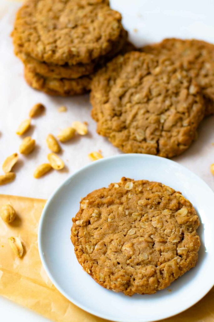 Peanut Butter Oatmeal Cookies are soft, chewy with a tender center and slightly crispy edges.