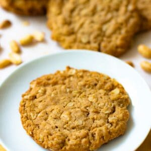 Oatmeal Cookies made with Peanut Butter are soft, chewy and perfect with a cup of coffee.