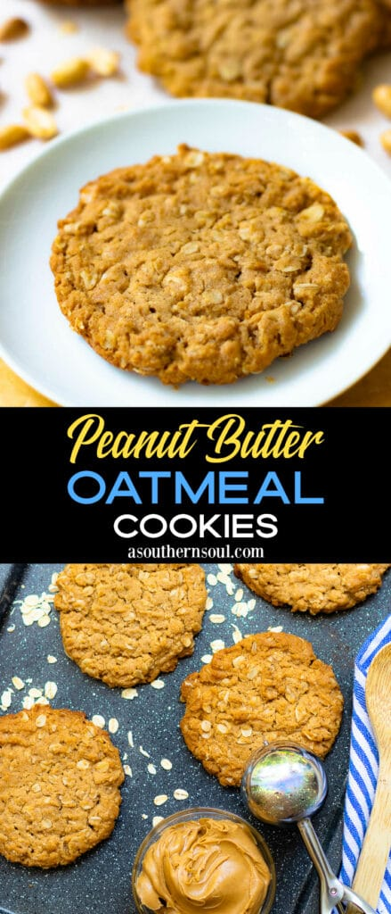 Peanut Butter Oatmenl Cookies Pinterest Pin are easy to make and totally delicious!