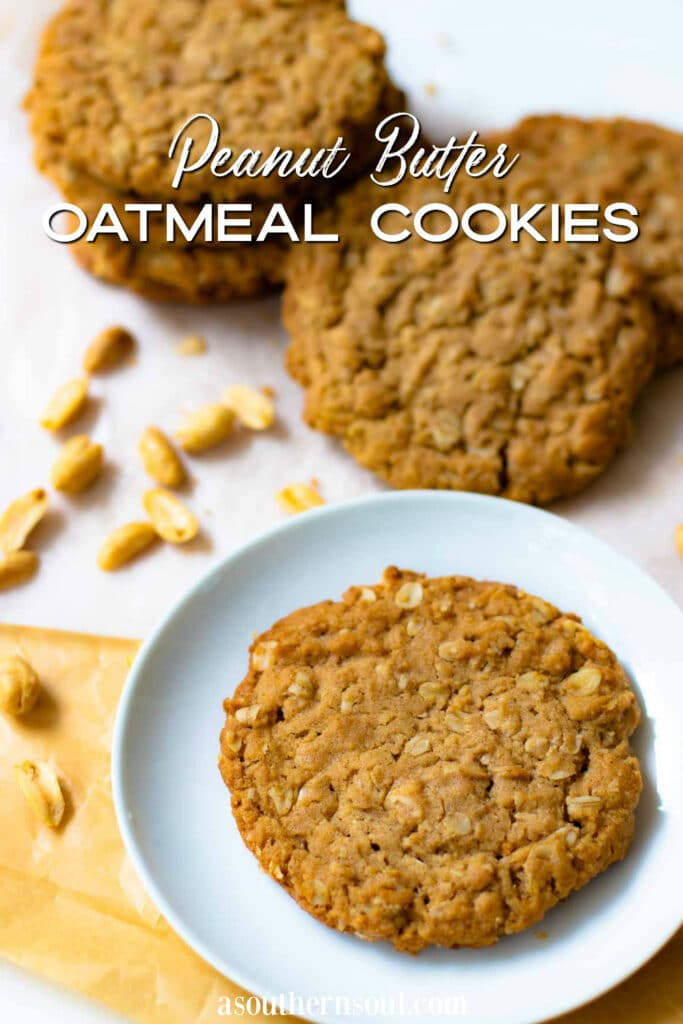 Peanut Butter Oatmeal Cookies are loaded with yummy goodness served on a plate with a glass of milk for the perfect afternoon treat.