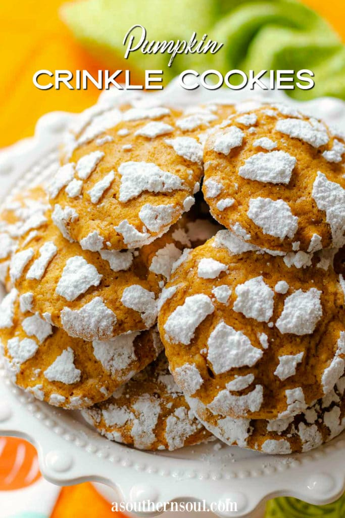 Pumpkin Crinkle Cookies on platter inage for Pinterest.