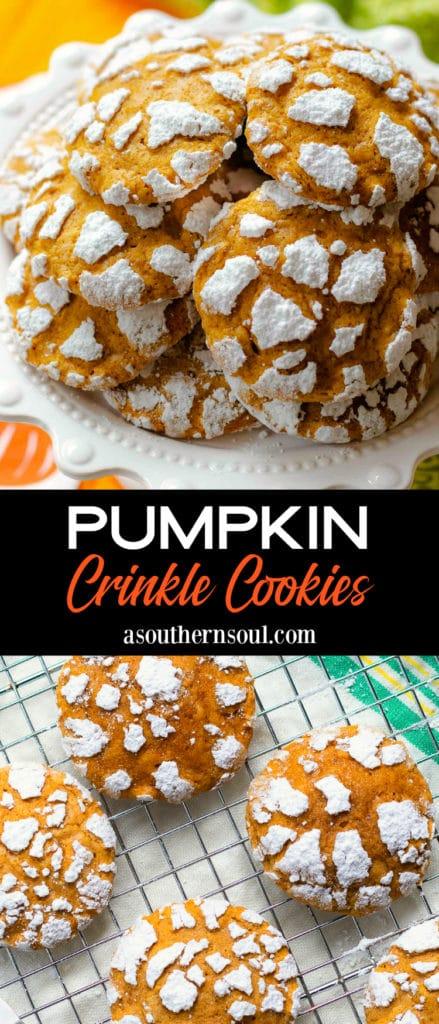Pumpkin Crinkle Cookies 2 images for Pinterest.