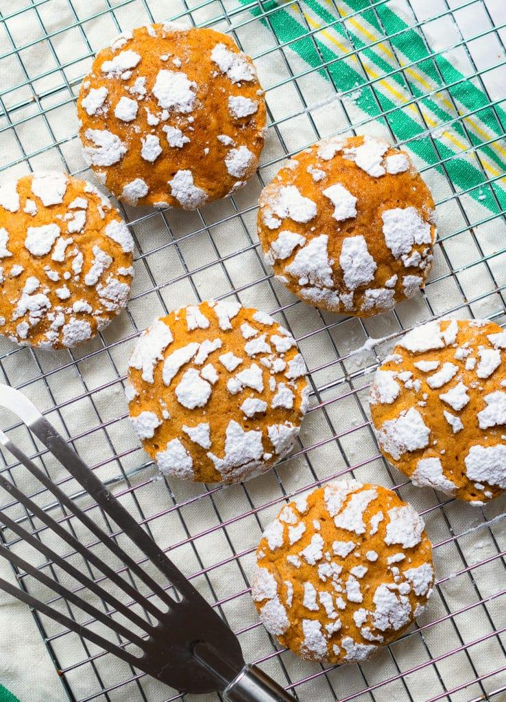 Pumpkin Crinkle Cookies on cooking rack.