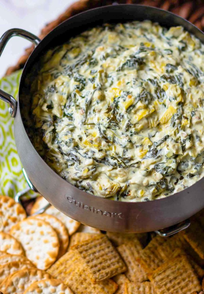 Warm dip made with spinach and artichokes.