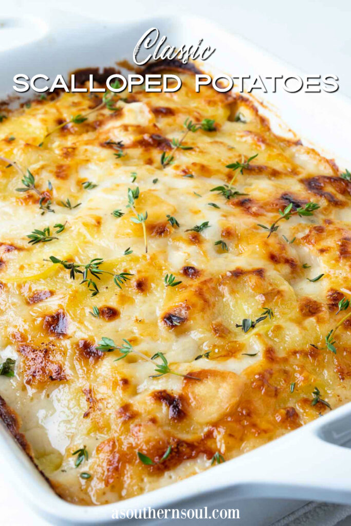 Classic Scalloped Potatoes with text overlay for Pinterest.