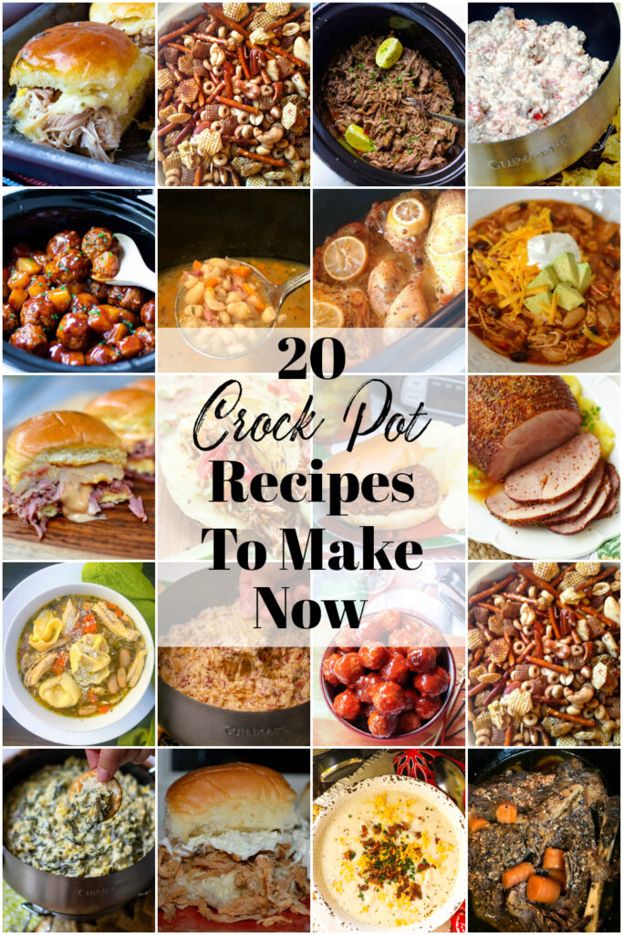 20 Crock Pot Recipes To Make Now collection of easy to make appetizers and main dishes.