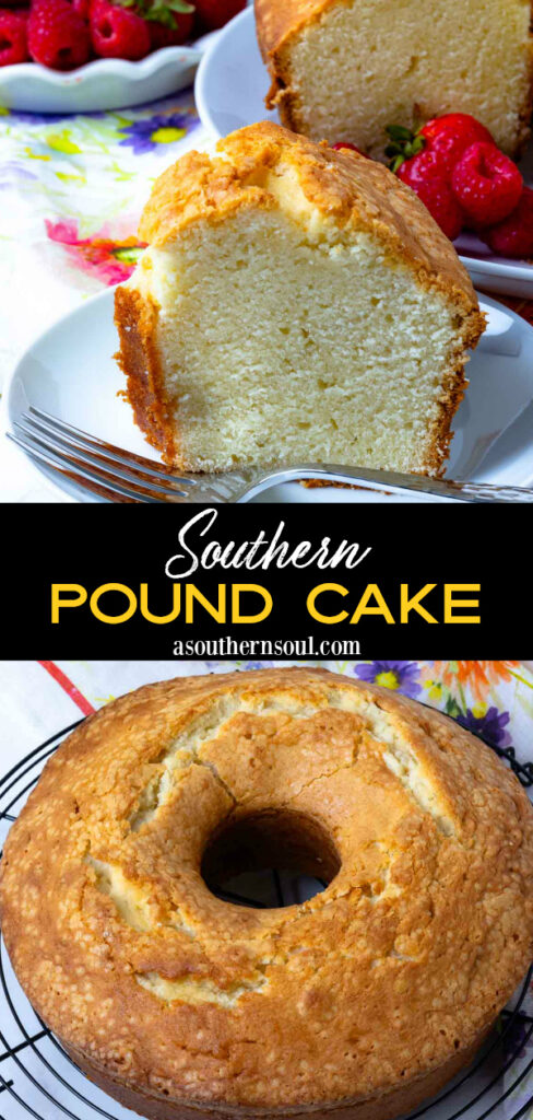 Two images of Southern Pound Cake to share with Pinterest and social media.