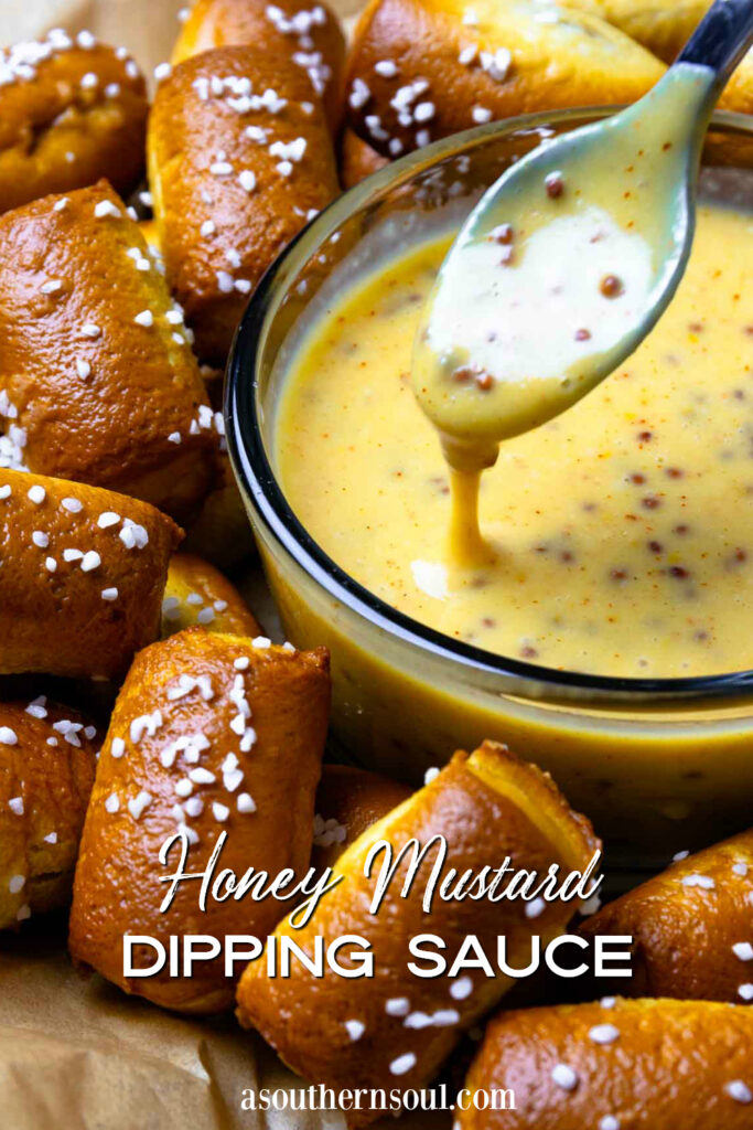 Honey Mustard Sauce is easy to make for snacks, salad, sandwiches image for Pinterest.