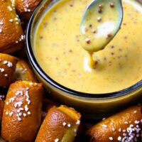 Honey Mustard Sauce drizzled on pretzel bites makes a yummy after school tread and is perfect for game day.