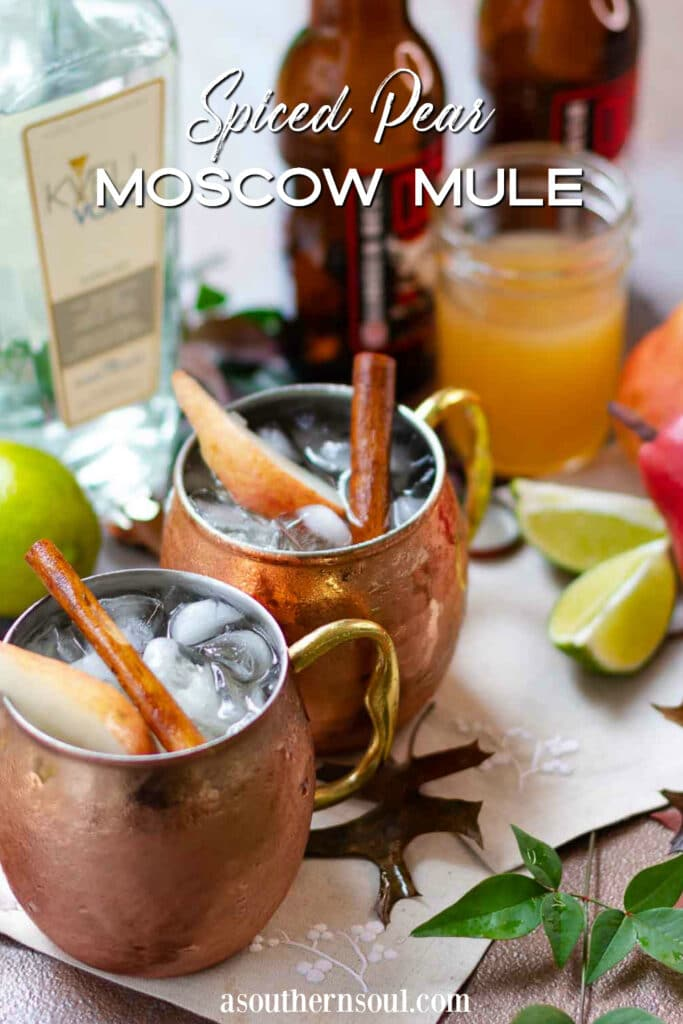 Spiced Pear Moscow Mule photo with text overlay for Pinterest.