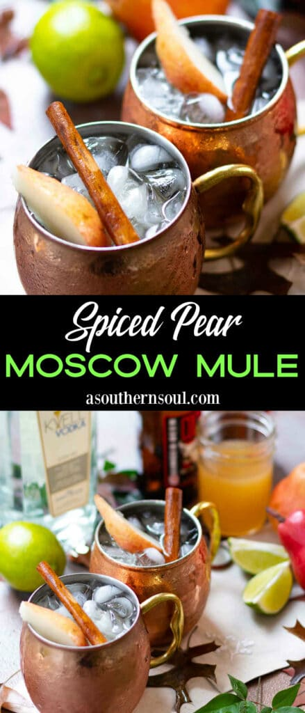 Spiced Pear Moscow Mule 2 photos for Pinterest.