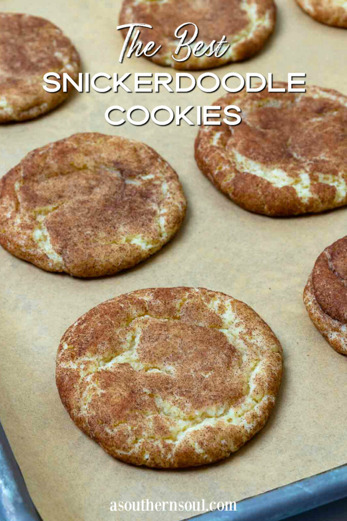 The Best Snickerdoodle Cookies with text overlay for Pinterest image.