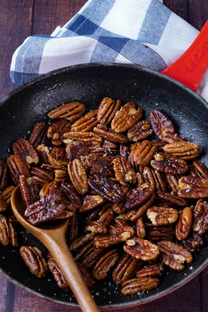 How To Toast Pecans in a skillet on the stove top.