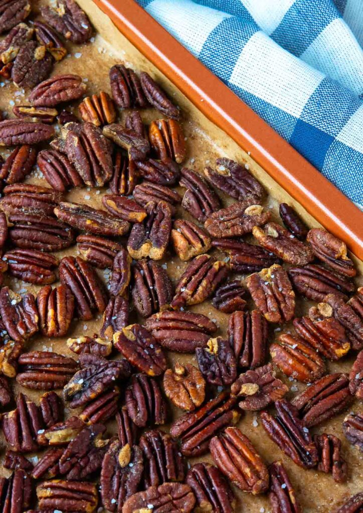 How To Toast Pecans on a sheet tray for salads, casseroles and desserts.