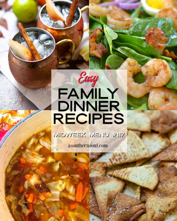 Midweek Menu #117 features soup, salad, homemade pita chips and a fall drink.