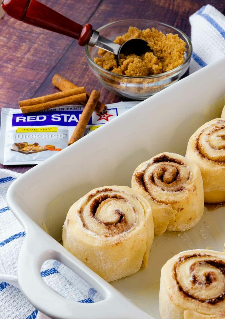 Easy to make Cinnamon Rolls in a pan with brown sugar, cinnamon with quick rise yeast.