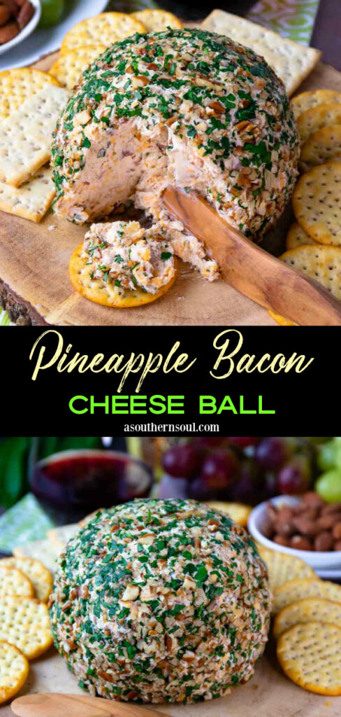 2 images of Pineapple Bacon Cheese Ball for Pinerest Pin.