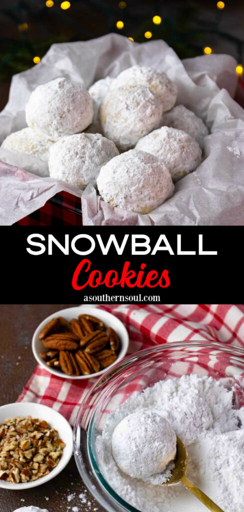 2 images of Snowball Cookies for Pinterest.