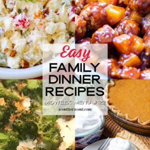 Midweek Menu #122 features Ambrosia Salad, Crock Pot Hawaiian Meatballs, Roasted Broccoli and Sweet Potato Pie.