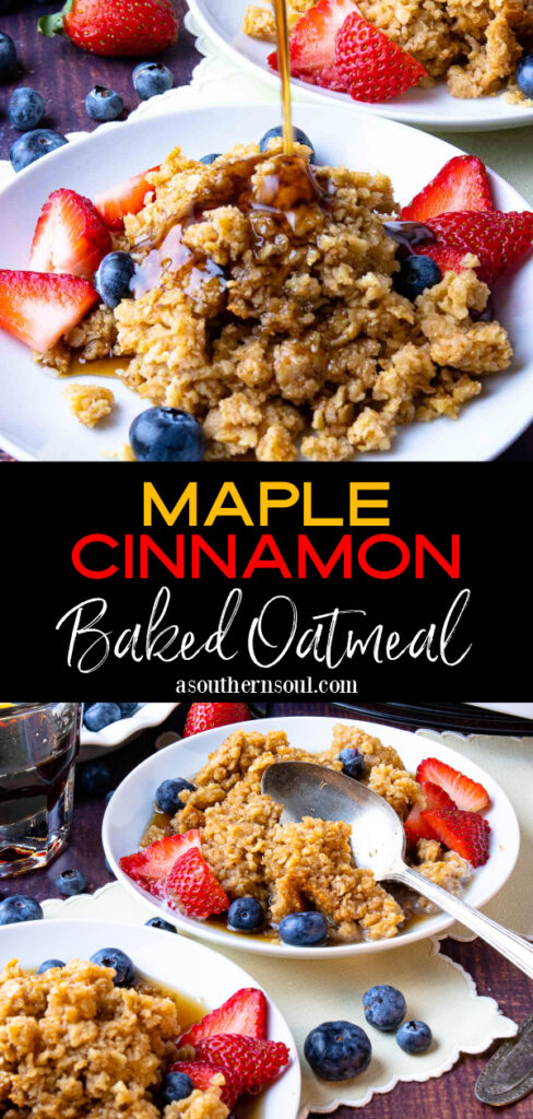 baked oatmeal Pin for Pinterest with 2 images