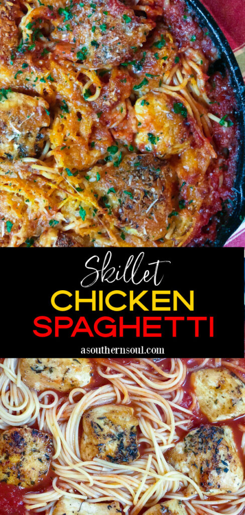 Two images for Pinterest of Skillet Chicken Spaghetti.