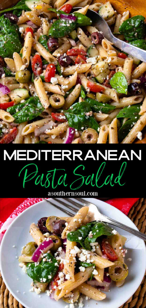 Mediterranean Pasta Salad 2 images Pin for Pinterest.