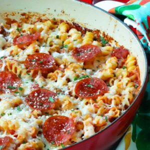 Pizza Pasta Bake made in one pan with cheesse and pepperoni.