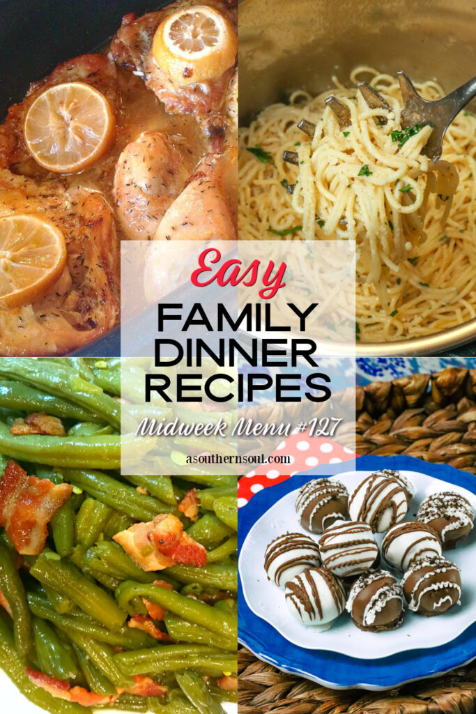 Midweek Menu #127 - 4 recipes for a family dinner collage.
