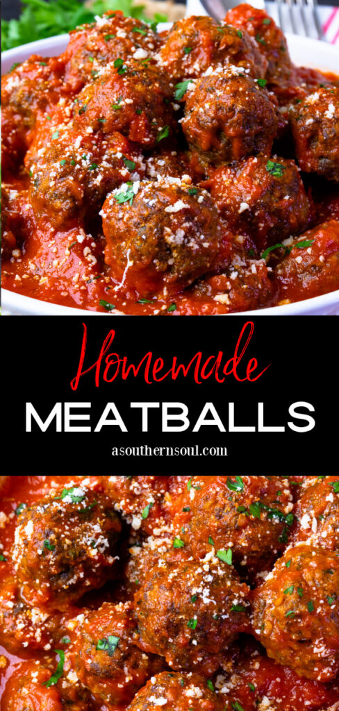 Two images of homemade meatballs for Pinterest